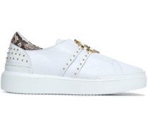 Python-trimmed embellished leather sneakers