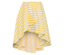Adelle Asymmetric Striped Cotton-twill Mini Skirt Yellow