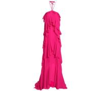 Ruffled silk-crepe halterneck gown