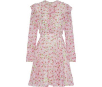 Ruffle-trimmed Floral-print Silk-georgette Mini Dress Baby Pink