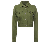 Woman Cropped Denim Jacket Army Green