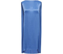 Woman Draped Satin-crepe Dress Blue