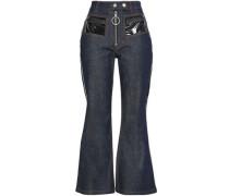 Paneled High-rise Flared Jeans Dark Denim  8