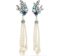 Crystal, stone, faux pearl, and silver-tone clip earrings