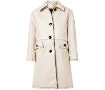 Crinkled coated-cotton coat