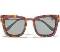 Lara D-frame Tortoiseshell Acetate And Rose Gold-tone Sunglasses Green Size --