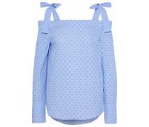 Cold-shoulder gingham fil coupé cotton top