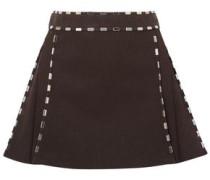 Woman Embellished Cotton-canvas Mini Skirt Dark Brown