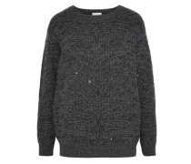 Sequin-embellished ribbed cashmere sweater