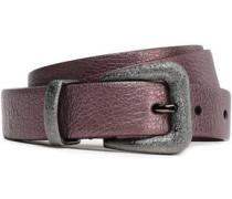 Metallic Textured-leather Belt Lilac