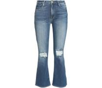 Distressed faded midi-rise kick-flare jeans