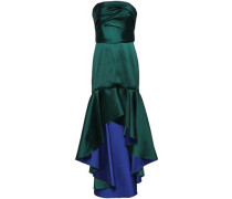 Strapless Ruched Duchesse-satin Gown Emerald