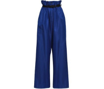 Woman Cotton And Silk-blend Twill Wide-leg Pants Royal Blue