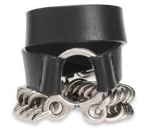 Burnished Silver-tone And Leather Bracelet Black Size --