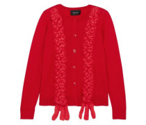 Braided Merino Wool, Silk And Cashmere-blend Cardigan Red
