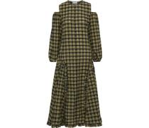 Woman Cold-shoulder Metallic Checked Cotton-blend Midi Dress Army Green