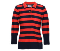 Striped Wool And Cashmere-blend Polo Shirt Navy