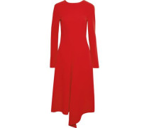 Asymmetric Draped Crepe Dress Red Size 0