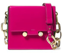 Woman Chain-trimmed Leather And Suede Shoulder Bag Fuchsia