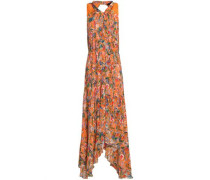 Pleated floral-print silk crepe de chine midi dress
