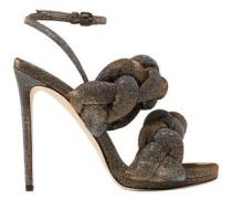 Woman Braided Textured-lamé Sandals Gunmetal