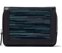 Jacquard knit-paneled leather shoulder bag