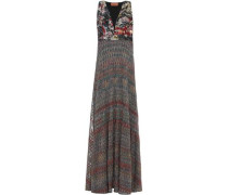 Woman Sequined Metallic Crochet-knit Maxi Dress Multicolor