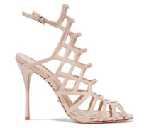Juliana cutout snake-effect leather sandals