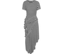 Lala Asymmetric Ruched Striped Stretch-jersey Midi Dress Black