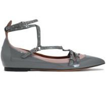 Eyelet-embellished smooth and patent-leather point-toe flats