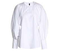 Gathered Cotton-poplin Tunic White