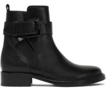 Woman Buckle-detailed Leather Ankle Boots Black