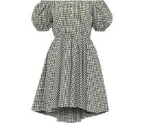 Bardot Off-the-shoulder Gingham Cotton-poplin Mini Dress Army Green