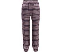 Colette Striped Silk-blend Lamé Tapered Pants Lavender Size 0