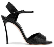 Patent Leather-trimmed Glittered Woven Sandals Black