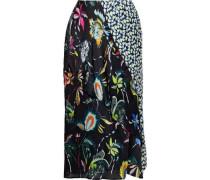 Woman Paneled Floral-print Silk-georgette Skirt Black