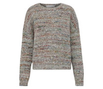 Mélange ribbed wool, alpaca and silk-blend sweater