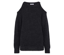 Lineisy cold-shoulder ribbed-knit sweater
