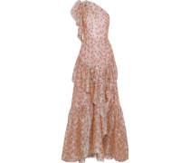 One-shoulder Ruffled Fil Coupé Silk-blend Organza Gown Antique Rose