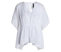 Broderie anglaise-trimmed wrap-effect cotton top