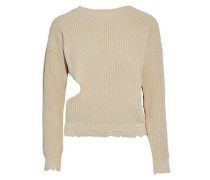 Cutout distressed ribbed cotton sweater