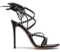 Lace-up studded leather sandals