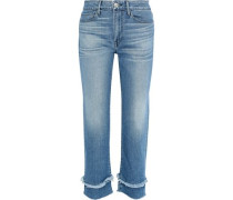 Petal Higher Ground Frayed Mid-rise Straight-leg Jeans Mid Denim  4