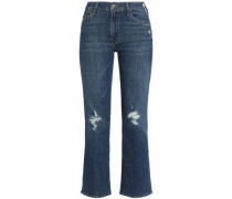 Distressed mid-rise kick flare jeans