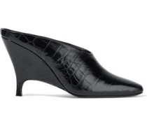 Croc-effect Glossed-leather Mules Black