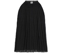 Pleated cotton-blend top