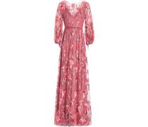Velvet-trimmed embroidered tulle maxi dress