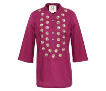 Sequin-embellished Cotton Tunic Plum