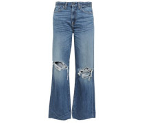 Basin Distressed High-rise Wide-leg Jeans Mid Denim  4