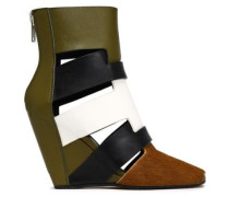 Color-block Calf Hair And Leather Wedge Ankle Boots Army Green
